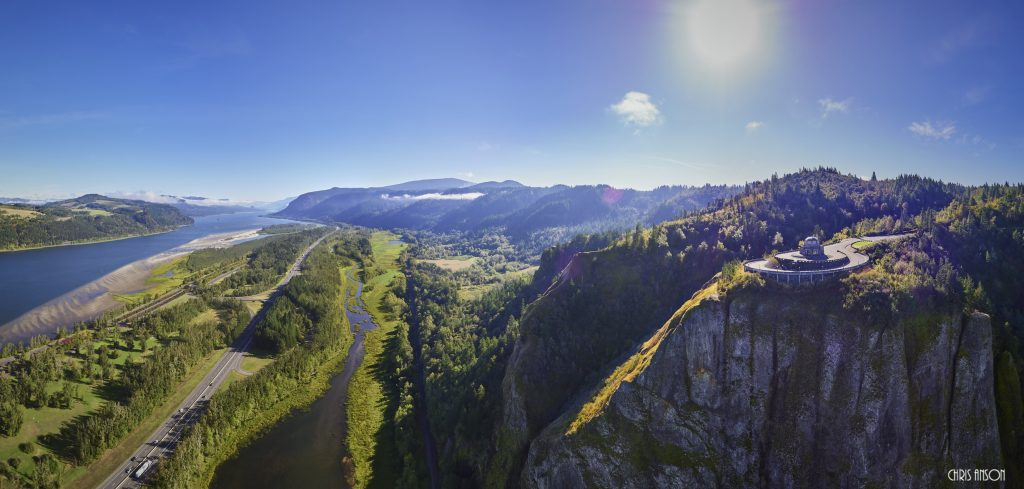 Aerial panorama at 780 feet above the Columbia River in the Columbia River Gorge on a sunny day-2