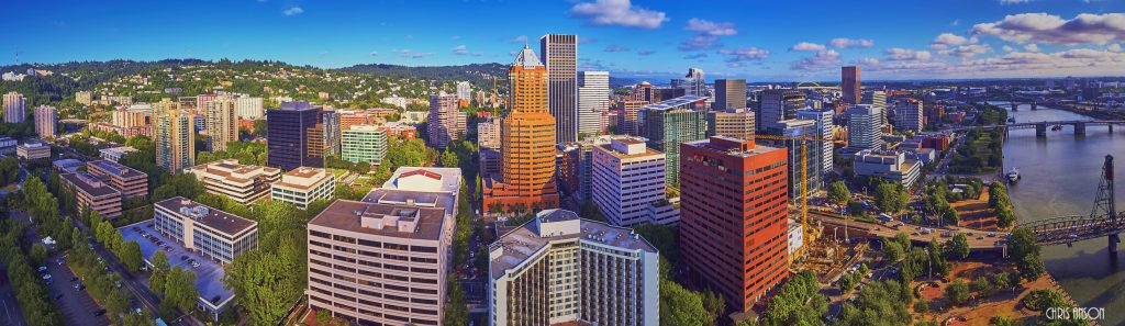 Aerial panorama downtown Portland Oregon V2-2-3