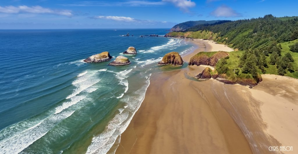 Aerial panorama shot at approximately 350 feet above Cannon Beach looking towards Ecola State Park on the Oregon Coast-2