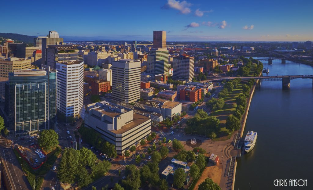 Aerial view of downtown Portland from Waterfront Park in early morning sun - dehazed-2