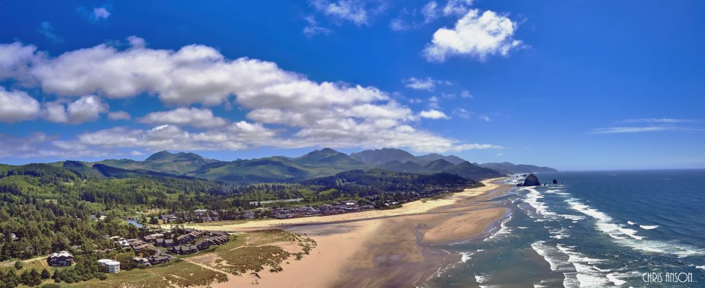 Aerial panorama shot at approximately 350 feet above Cannon Beach looking towards Haystack Rock overlooking on the Oregon Coast-3-2