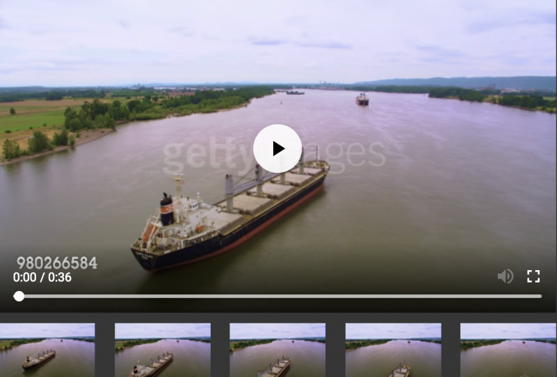 Aerial view of a cargo ship on a river in Vancouver Washington