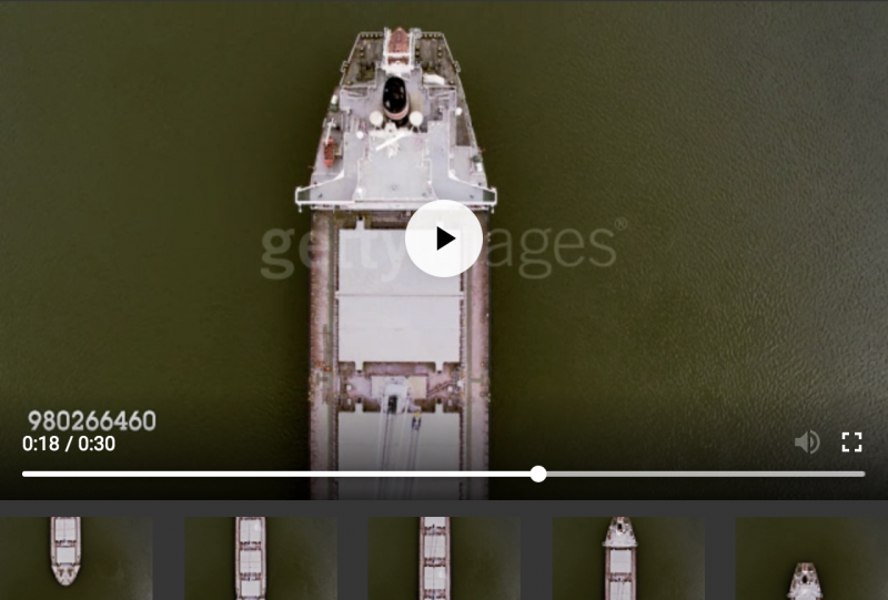Birds-eye view of cargo ship