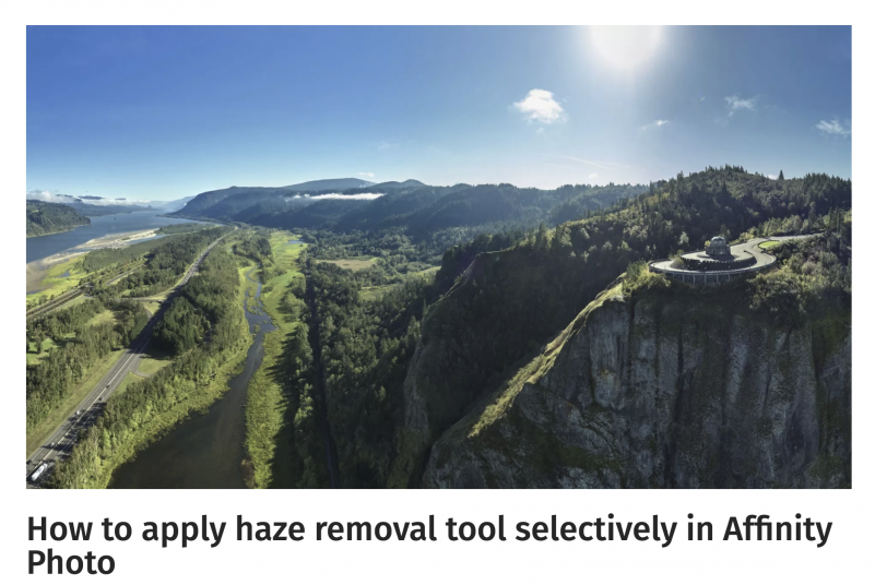 How to apply haze removal tool selectively in Affinity Photo