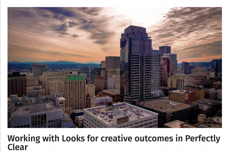 Working with Looks for creative outcomes in Perfectly Clear
